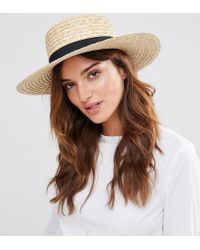 South Beach | Natural Straw Boater Hat With Black Band | Lyst