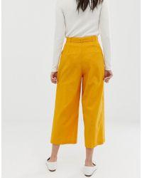 Culottes de lino con lazada en la cintura ASOS de color Yellow