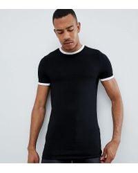 Camiseta negra ajustada y elástica con vivos en contraste y cuello redondo ASOS de hombre de color Black
