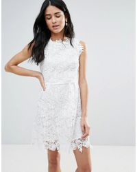Zibi London - White All Over Lace Skater Dress - Lyst