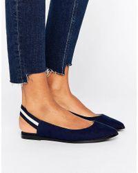 New Look Blue Elastic Stripe Slingback Shoe