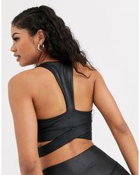 Черный Спортивный Бюстгальтер С Мокрым Эффектом South Beach, цвет: Black