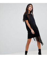 93811874ac97 ASOS Mini T-shirt Dress With Fringe Detail in Black - Lyst