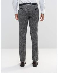 ASOS - Blue Slim Suit Pants In Textured Fabric In Black And White for Men - Lyst