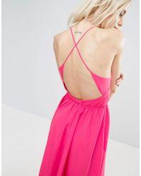 ASOS - Pink Open Cross Back Midi Dress - Lyst