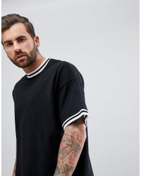 ASOS - Black Oversized T-shirt With Contrast Tipping In Pique for Men - Lyst