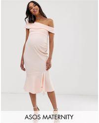 Vestido midi texturizado con escote Bardot ASOS de color Pink