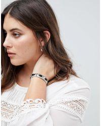 ASOS Metallic Exclusive Engraved Stone Stretch Bracelet