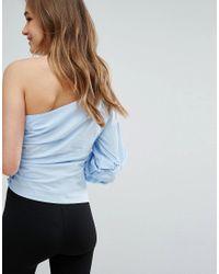 Bershka - Blue Berskha One Shoulder Puff Sleeve Top - Lyst