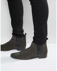 ASOS - Gray Asos Chelsea Boots In Suede for Men - Lyst