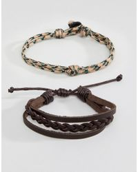 Icon Brand - Leather & Corded Brown Bracelet In 4 Pack for Men - Lyst