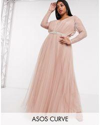 ASOS DESIGN Curve - Vestito lungo con maniche di ASOS in Pink