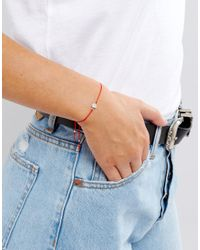 Dogeared - X Asos Exclusive Friendship Swarovski Crystal On Red Silk Adjustable Bracelet - Lyst