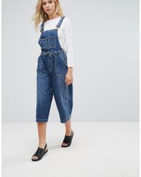Pepe Jeans - Blue Colette Wide Leg Dungaree's - Lyst