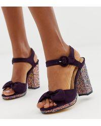 Oasis Block Heeled Sandals With Glitter Heel In Purple
