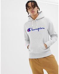 Champion Gray Reverse Weave Hoodie With Large Logo for men