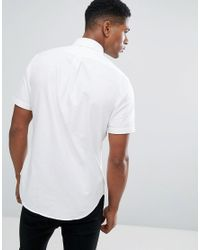 Polo Ralph Lauren | Slim Fit Oxford Shirt Short Sleeve In White for Men | Lyst