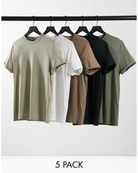 ASOS Multicolor 5 Pack Organic T-shirt With Roll Sleeve for men