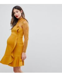 ASOS - Yellow Delicate Lace & Scuba Ruffle Shift Mini Dress - Lyst