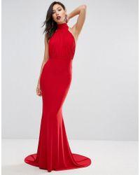 Club L Red High Neck Pleated Detail Fishtail Maxi Dress