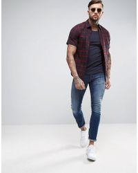 ASOS DESIGN Blue Muscle Fit Scoop Neck T-shirt In Navy for men