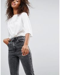 ASOS - Farleigh High Waist Slim Mom Jeans In Moon Black Acid Wash - Lyst