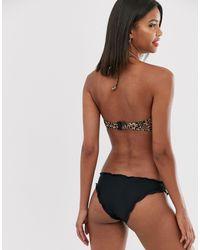 Vero Moda Black – Bikinihose mit Muschelsaum