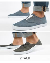 ASOS Plimsolls In Black And Blue Chambray 2 Pack for men