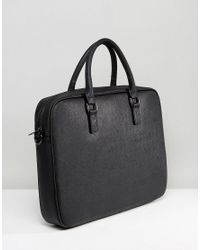Armani Jeans - Saffiano Briefcase Bag In Black for Men - Lyst