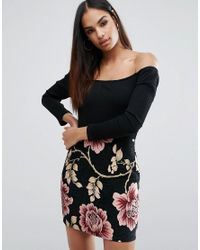9c2cce23f5a40e Missguided 2 In 1 Off The Shoulder Dress With Floral Jacquard Skirt ...