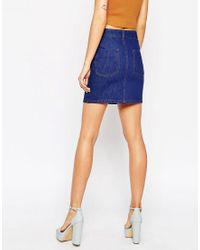 ASOS Denim Five Pocket Skirt In True Blue