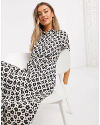 FABIENNE CHAPOT Black Brizo Leopard Print Midi Shirt Dress