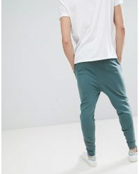 ASOS - Design Tall Drop Crotch Joggers In Washed Green for Men - Lyst
