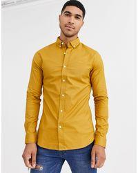 Camicia Oxford attillata color senape di New Look in Yellow da Uomo