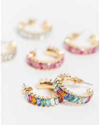 Набор Из 3 Пар Золотистых Серег-колец ASOS, цвет: Metallic