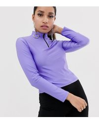 Top con cremallera en violeta neón ASOS de color Purple