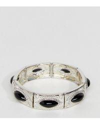 ASOS - Metallic Exclusive Engraved Stone Stretch Bracelet - Lyst