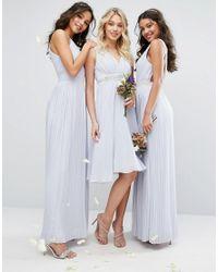 TFNC London Blue Wedding Maxi Dress With Embellished V Back
