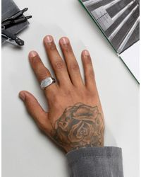 Icon Brand - Metallic Hammered Signet Ring In Antique Silver for Men - Lyst