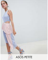 ASOS DESIGN Petite - Vestito plissettato colourblock di ASOS in Multicolor