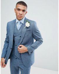 ASOS Asos Wedding Slim Suit Jacket In 100% Silk Textured Blue for men
