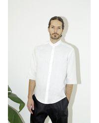 Assembly - White Linen Noncollar Shirt for Men - Lyst