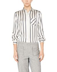 ATM | White Striped Silk Charmeuse Shirt With Pocket | Lyst