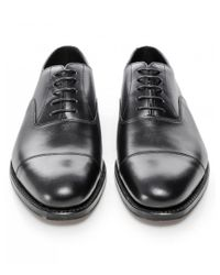 Loake Black Leather Wadham Oxford Shoes for men
