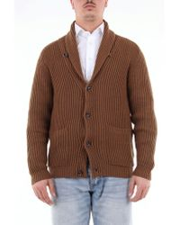 Paolo Pecora Brown Solid Color Cardigan In Virgin Wool for men
