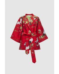 WEILI ZHENG Red Oriental Vintage Brocade Kimono With Belt To Tie