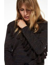 Maison Scotch Gray Knitted Tassel Pullover