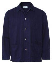 Universal Works Blue Herringbone Denim Bakers Overshirt Colour: Navy for men