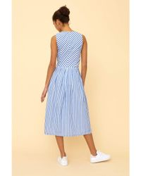 Emily and Fin Blue Josie Sunlounger Stripe Midi Dress