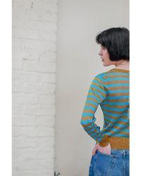Happy Sheep Blue Lurex Knit Stripe Pullover